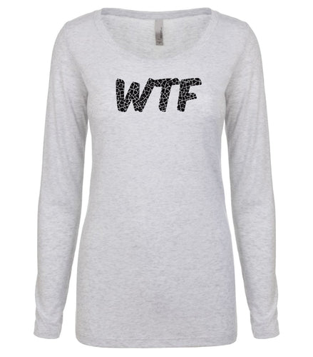 white WTF long sleeve scoop shirt for women