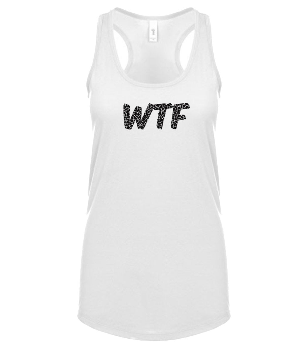 white WTF racerback tank top for women