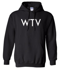 Load image into Gallery viewer, black WTV hooded sweatshirt for women