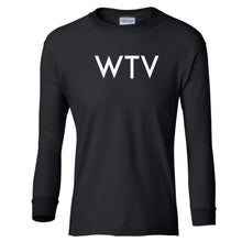 Load image into Gallery viewer, black WTV youth long sleeve t shirt for girls