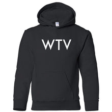 Load image into Gallery viewer, black WTV youth hooded sweatshirts for girls