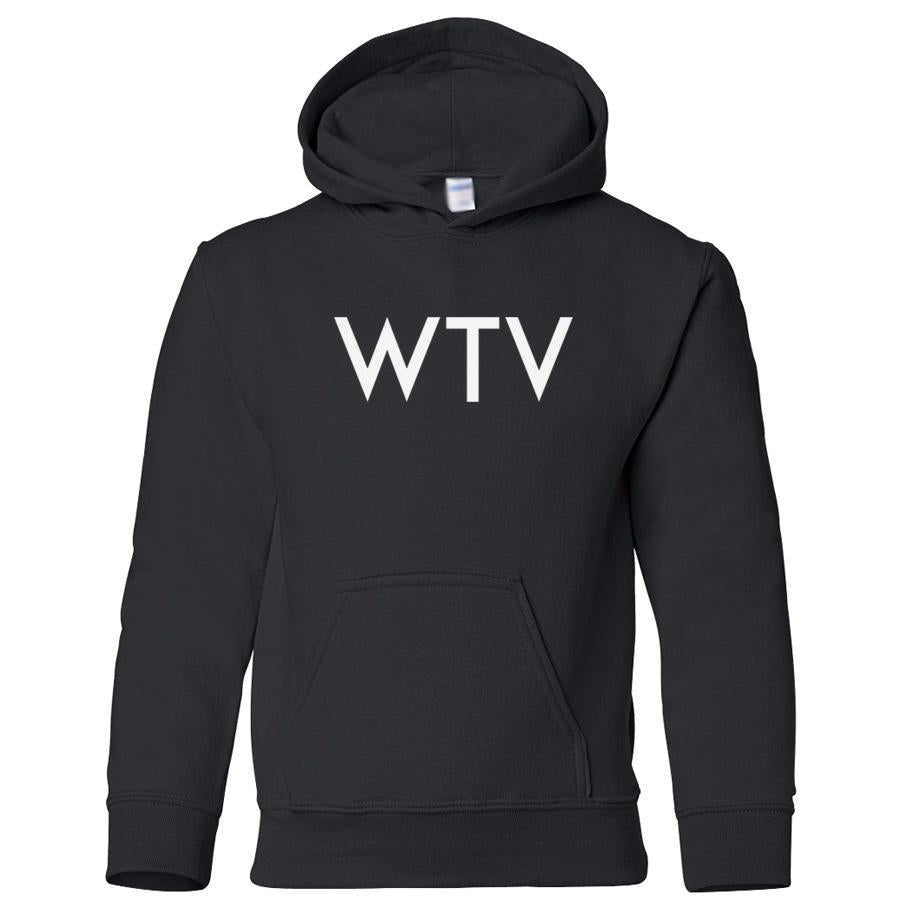 black WTV youth hooded sweatshirts for girls
