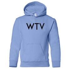 Load image into Gallery viewer, blue WTV youth hooded sweatshirts for girls