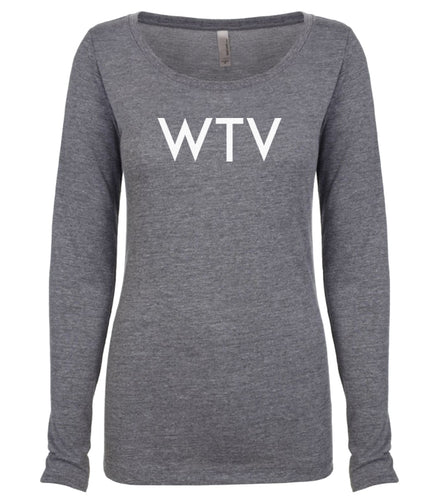 grey WTV long sleeve scoop shirt for women