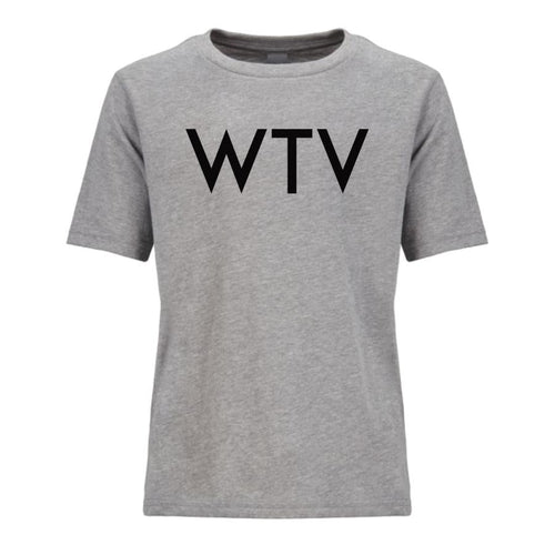 grey WTV youth crewneck t shirt for boys