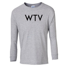 Load image into Gallery viewer, grey WTV youth long sleeve t shirt for boys
