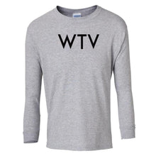 Load image into Gallery viewer, grey WTV youth long sleeve t shirt for girls