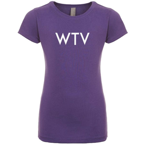 purple WTV youth crewneck t shirt for girls