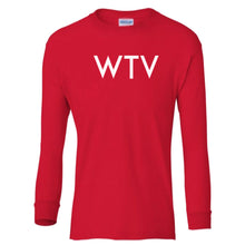 Load image into Gallery viewer, red WTV youth long sleeve t shirt for boys