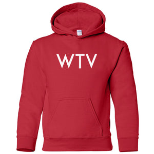 red WTV youth hooded sweatshirt for boys