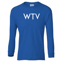 Load image into Gallery viewer, blue WTV youth long sleeve t shirt for boys
