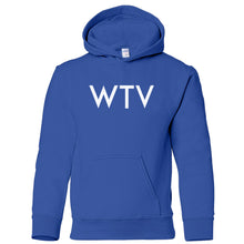 Load image into Gallery viewer, blue WTV youth hooded sweatshirt for boys