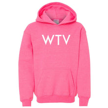 Load image into Gallery viewer, pink WTV youth hooded sweatshirts for girls