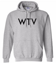 Load image into Gallery viewer, grey WTV hooded sweatshirt for women