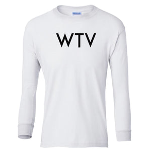 white WTV youth long sleeve t shirt for boys