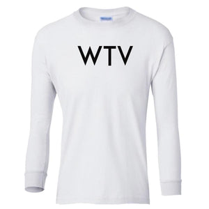 white WTV youth long sleeve t shirt for girls