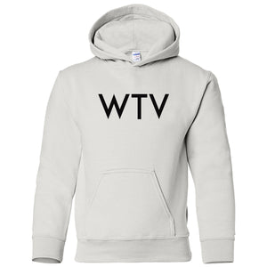 white WTV youth hooded sweatshirt for boys