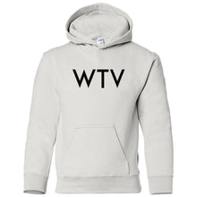 Load image into Gallery viewer, white WTV youth hooded sweatshirts for girls