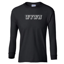Load image into Gallery viewer, black WYWH youth long sleeve t shirt for boys