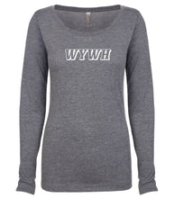 Load image into Gallery viewer, grey WYWH long sleeve scoop shirt for women