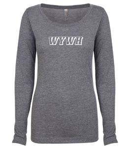 grey WYWH long sleeve scoop shirt for women