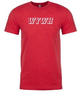 red wywh mens crewneck t shirt