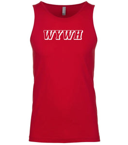 red wywh mens tank top