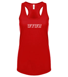 red WYWH racerback tank top for women