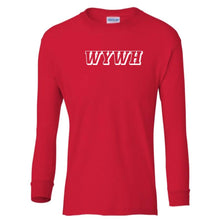 Load image into Gallery viewer, red WYWH youth long sleeve t shirt for boys