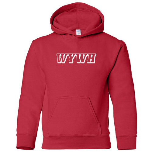 red WYWH youth hooded sweatshirt for boys