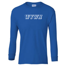 Load image into Gallery viewer, blue WYWH youth long sleeve t shirt for boys