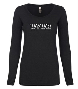 black WYWH long sleeve scoop shirt for women