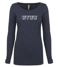 Load image into Gallery viewer, navy WYWH long sleeve scoop shirt for women