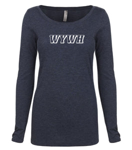 navy WYWH long sleeve scoop shirt for women