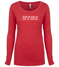 Load image into Gallery viewer, red WYWH long sleeve scoop shirt for women