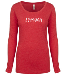 red WYWH long sleeve scoop shirt for women