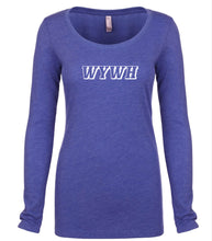 Load image into Gallery viewer, blue WYWH long sleeve scoop shirt for women