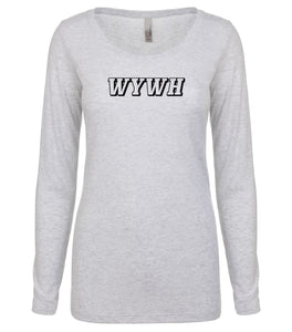 white WYWH long sleeve scoop shirt for women