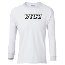 Load image into Gallery viewer, white WYWH youth long sleeve t shirt for boys