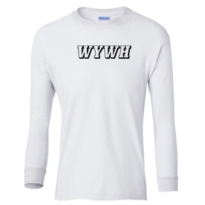 white WYWH youth long sleeve t shirt for boys