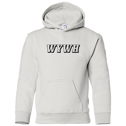 white WYWH youth hooded sweatshirts for girls