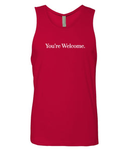 red you're welcome men's tank top