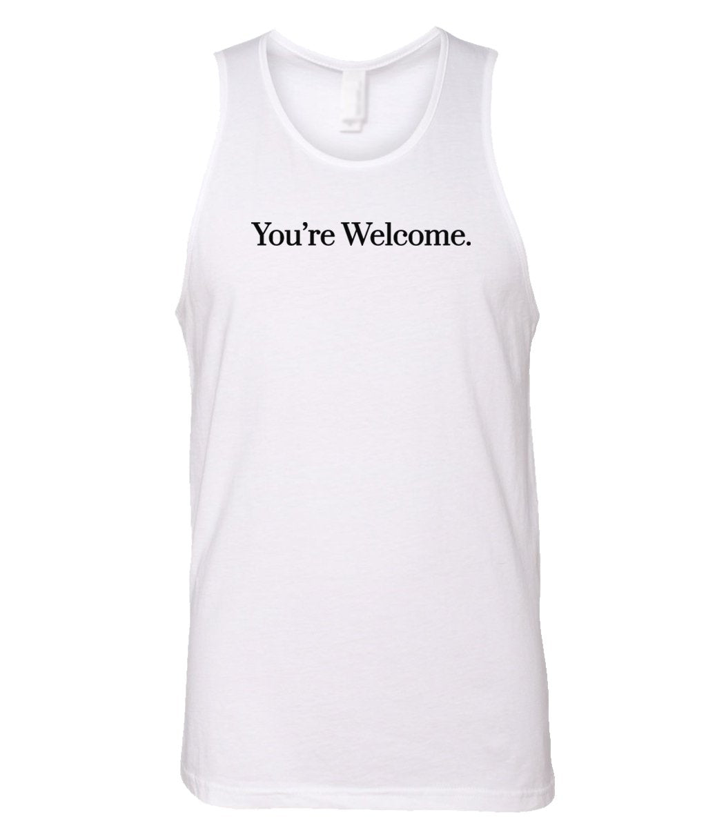white you're welcome men's tank top