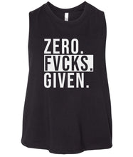 Load image into Gallery viewer, black zero FG women's cropped tank top