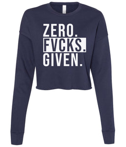navy zero cropped sweatshirt