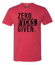 Load image into Gallery viewer, red zero fucks given crewneck t shirt