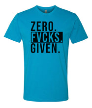 Load image into Gallery viewer, turquoise zero fucks given crewneck t shirt