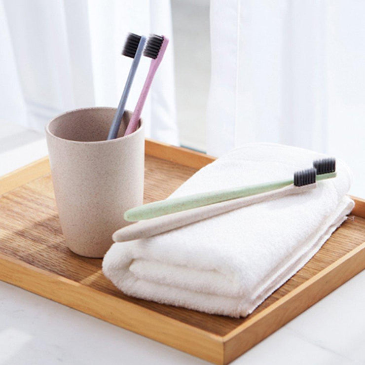 Charcoal Bamboo Toothbrush-with a soft wheat straw - jxnfrd