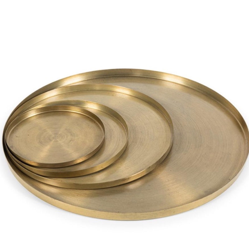 Round plate matt - brass antique M