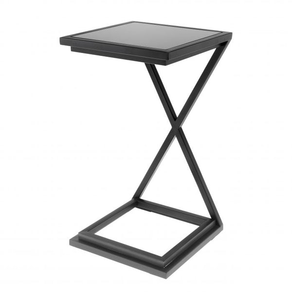 Side table cross gunmetal finish
